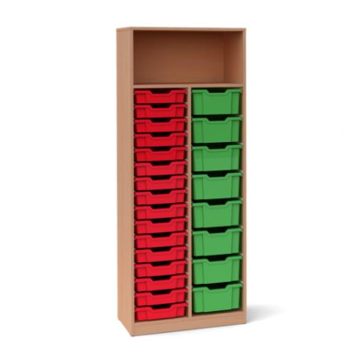 Двоен шкаф с 8 средни и 16 малки контейнера - 70х45 H=180см
