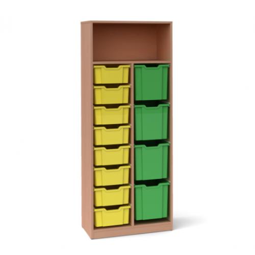 Двоен шкаф с 8 средни и 4 големи контейнера - 70х45 H=180см