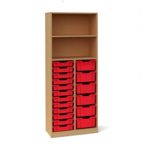 Двоен шкаф със 6 средни и 12 малки контейнера - 70х45 H=180см