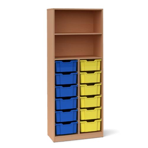 Двоен шкаф с 12 средни контейнера - 70х45 H=180см