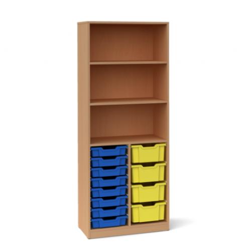 Двоен шкаф с 4 средни и 8 малки контейнера - 70х45 H=180см