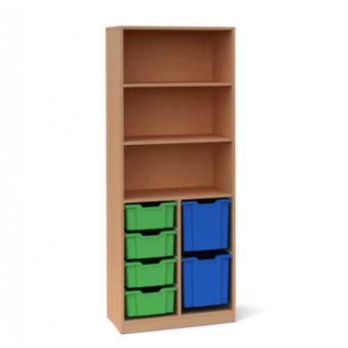 Двоен шкаф с 4 средни и 3 големи контейнера - 70х45 H=180см