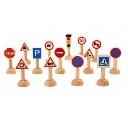 Комплект от 13бр. дървени  пътни знаци и светофар - H - 7см