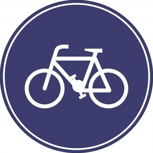 """Пътен знак със стойка - Г14 - """"Задължителен път само за велосипедисти"""""""