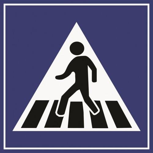 """Пътен знак със стойка - Д17 - """"Пешеходна пътека"""""""