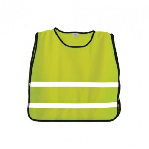 Детска сигнално-предпазна жилетка - светлоотразителна в електриково зелено - 1бр.