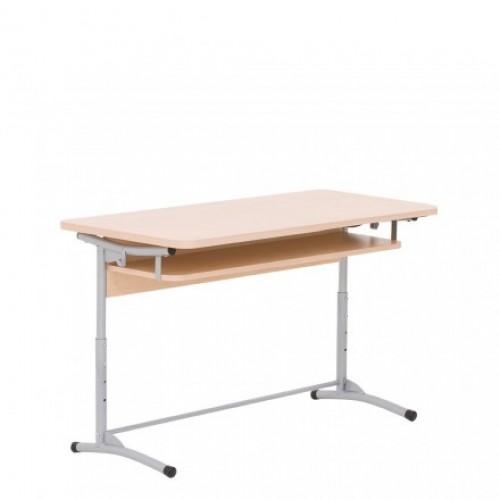 Двуместна ученическа маса - Tina Up с 3 височини (с рафт и челен панел)