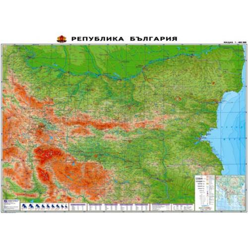 Физикогеографска карта на България - М 1:400 000 - 140х100см