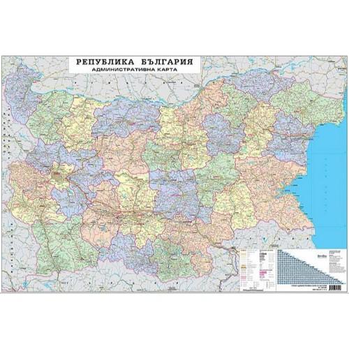 Актуализирана административна карта на България - М 1:300 000 - 180х130см.