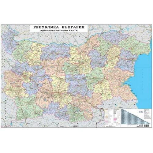 Административна карта на България - 1:380 000 - 140х100см