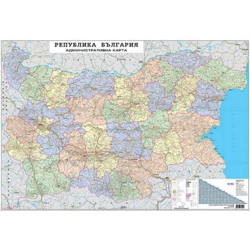 Административна карта на България - М 1:400 000 - 107х150см