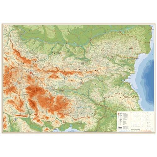 Карта на България - обща географска - 107х150см