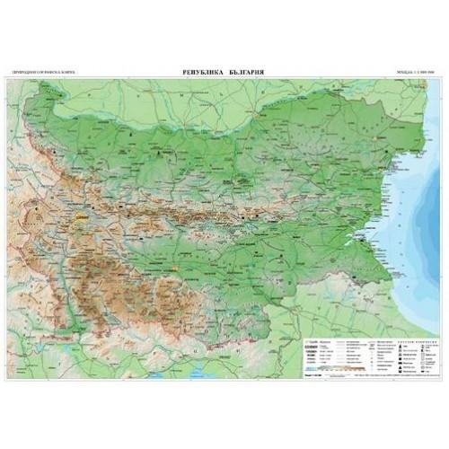 Карта на България - ученическа двустранна - М 1:1 000 000 - 59х54см