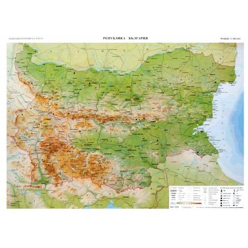 Учебна географска карта на България - 107х150см