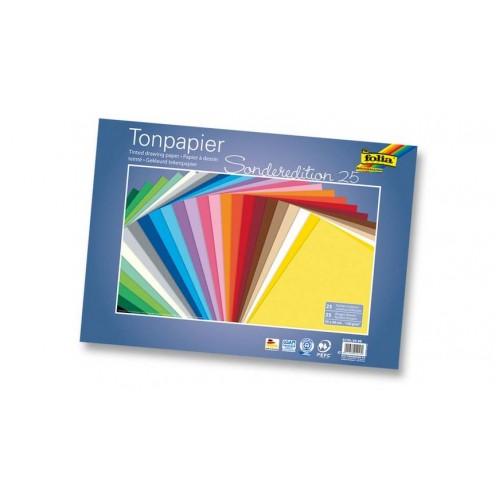Блок с цветни картони -  25 листа - 25 цвята - 130 гр.