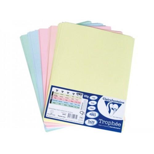 Комплект от микс картони - пастелни цветове - А4 - 50листа - 5 цвята