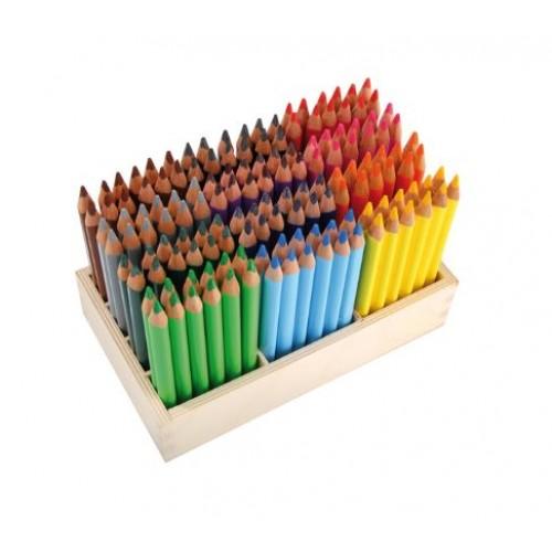 Комплект от 144бр. цветни, триъгълни, дървени моливи х 12бр. от цвят