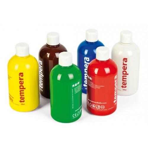 Комплект от 6 бр. цветни темперни бои по 0.5 литра