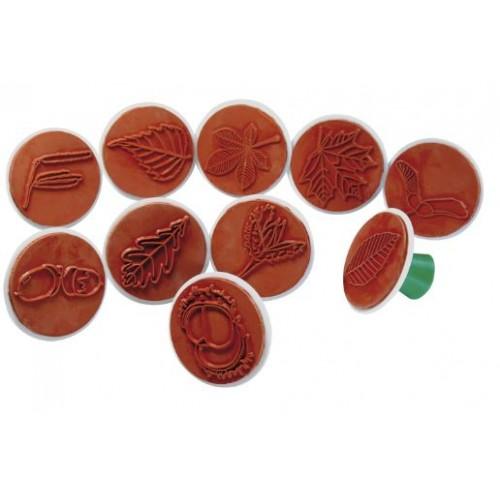 Комплект от 10бр. гумени печати - Горски листа/мотиви