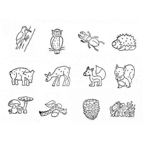 Комплект от 12бр. печати - Горски обитатели и горски мотиви