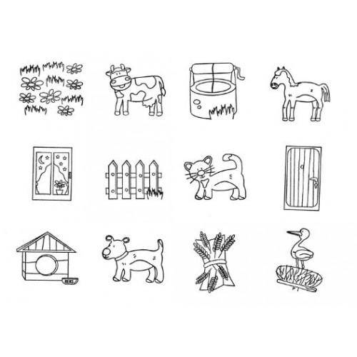 Комплект от 12бр. печата - Фермата и мотиви от нея