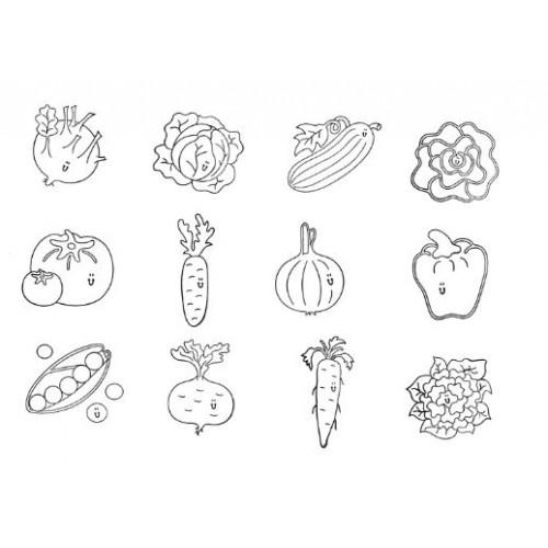 Комплект от 12бр. печати - Зеленчуци