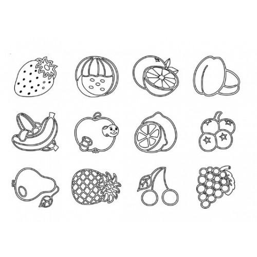 Комплект от 12бр. печати - Плодове