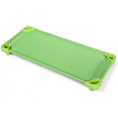 Стифиращо пластмасово детско легло за яслени групи, детска градина и занимални - Зелено - 133 х 57см, H-15см