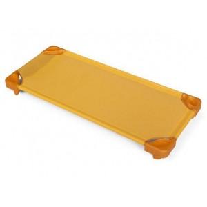 Стифиращо пластмасово детско легло за яслени групи, детска градина и занимални - Оранжево - 133 х 57см, H-15см