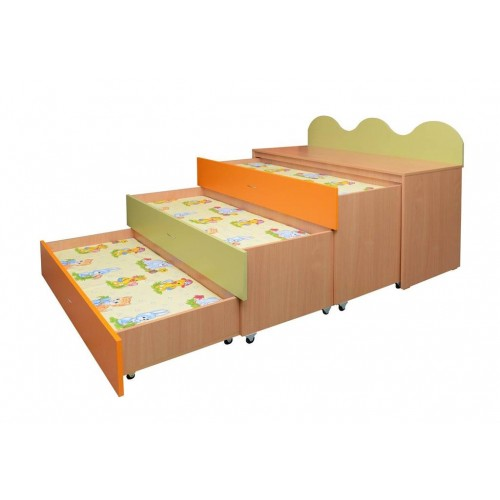 """Триетажно легло """"Сандвич"""" за детски градини и занимални с размери - 140х68см Н=102/76см"""