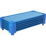 Стифиращо пластмасово детско легло за яслени групи, детска градина и занимални - Синьо - 133 х 57см, H-15см