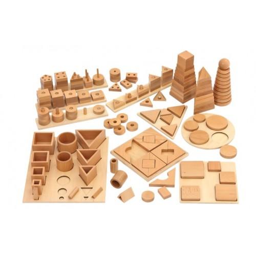 Голям дървен Монтесори комплект