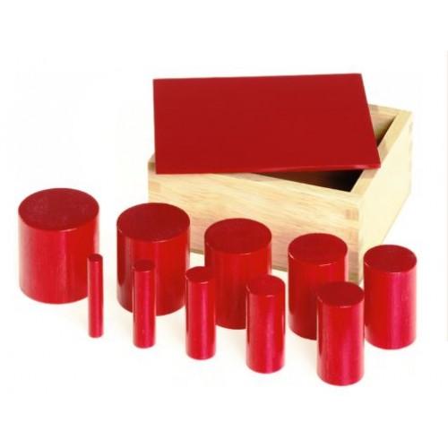 Монтесори комплект от 40 бр. цилиндри в 4 дървени цветни кутии