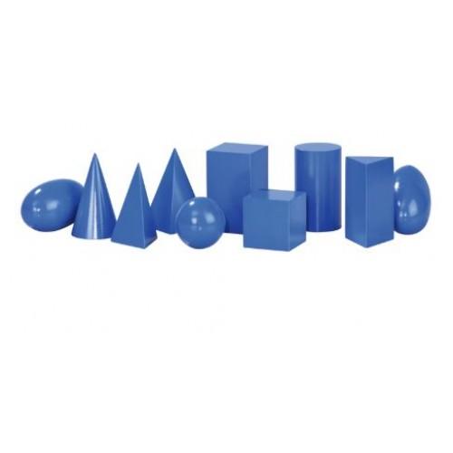 Комплект от геометрични фигури сини, дървени