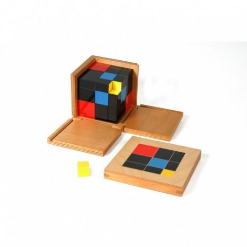 Дървен триномен куб на Монтесори - Триномунален куб