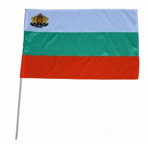 Българско знаме / трикольор с пръчица - размери - 50/83 - нетъкан текстил - с герб