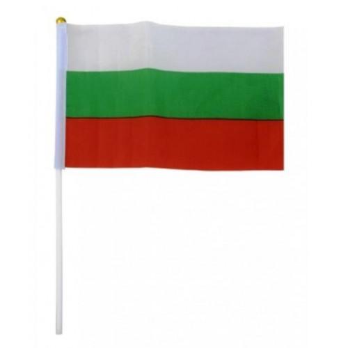 Знаме на българия от плат с дръжка - 20х30см